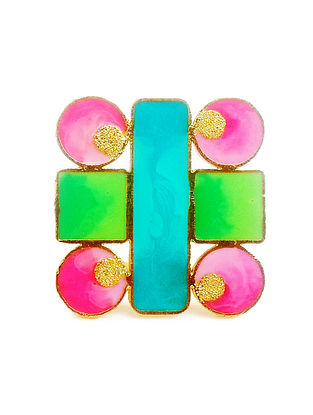 Geometric Pink-Green Enameled Gold-plated Brass Adjustable Ring