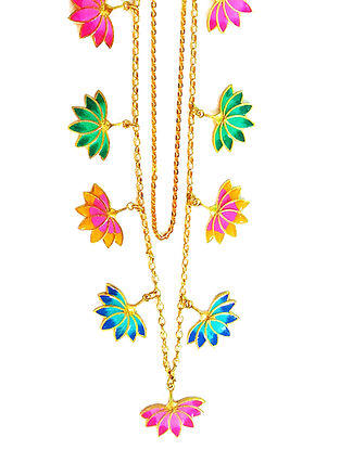 Lotus Charm Multicolored Enameled Gold-plated Brass Necklace