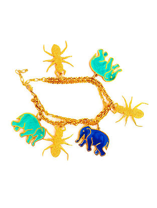 Hathi Cheeti Blue-Turquoise Enameled Gold-plated Brass Bracelet