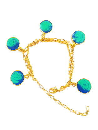Small Color Carnival Blue Enameled Gold-plated Brass Bracelet