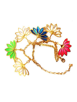 Lotus Charm Pink-Green Enameled Gold-plated Brass Bracelet