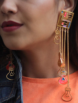 Thea Multi-colored Gold-plated Enamel Earrings