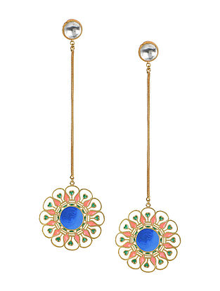 Ciana Pink-Blue Gold-plated Enamel Earrings