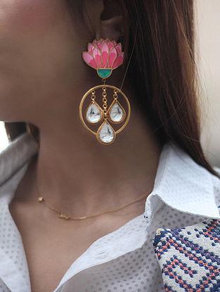 Spring Bloom Pearl Pink-Blue Gold-plated Enamel Earrings with Jadau Stones