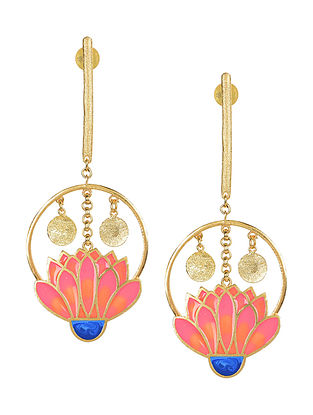Garden Party Pink-Orange Gold-plated Enamel Earrings