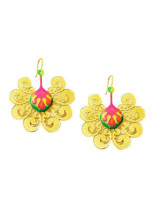 Baroque Pink-Green Gold-plated Enamel Earrings
