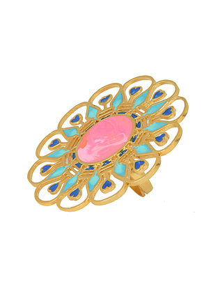 Illuminate Pink-Peach Gold-plated Enamel Adjustable Ring