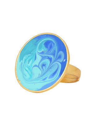 Ocean Waves Blue Gold-plated Enamel Adjustable Ring