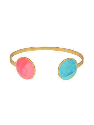 Colour Carnival Pink-Blue Gold-plated Adjustable Cuff