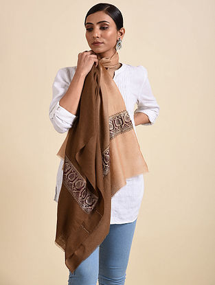 Brown-Beige Handwoven Pashmina Stole with Vintage Border