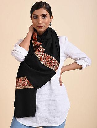 Black Handwoven Pashmina Stole with Vintage Border