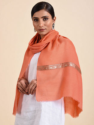 Coral Handwoven Pashmina Stole with Vintage Border