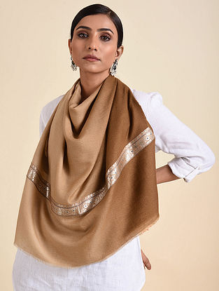 Brown Handwoven Pashmina Stole with Vintage Border