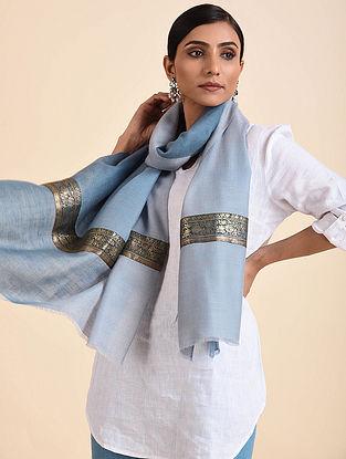 Blue Handwoven Pashmina Stole with Vintage Border