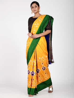 Yellow-Green Ikat Silk Saree