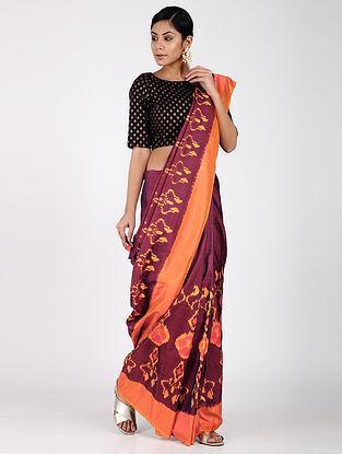 Purple-Orange Ikat Silk Saree