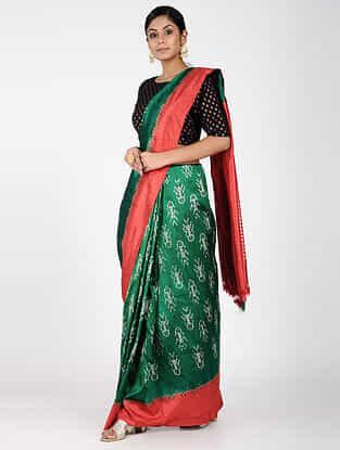 Green-Red Ikat Silk Saree