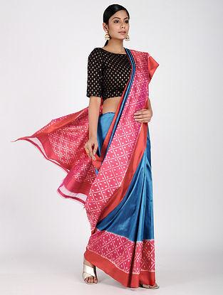Blue-Pink Ikat Silk Saree