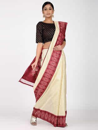 Ivory-Red Ikat Silk Saree