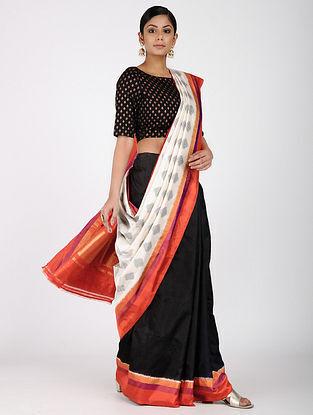 Ivory-Black Ikat Silk Saree with Zari