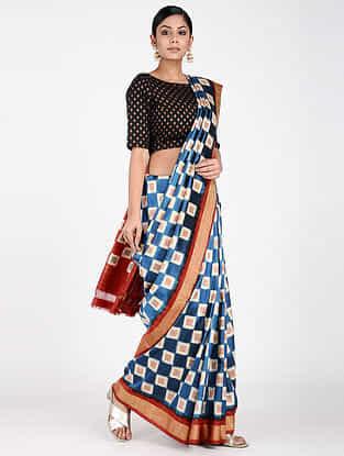 Blue-Ivory Ikat Silk Saree with Zari