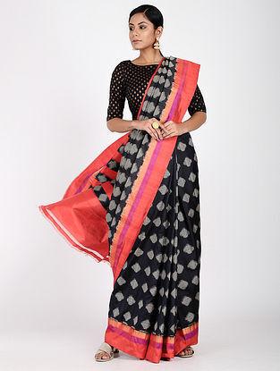 Black-Pink Ikat Silk Saree with Zari