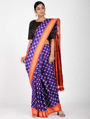 Purple-Red Ikat Silk Saree with Zari