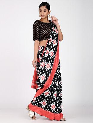 Black-Red Ikat Silk Saree
