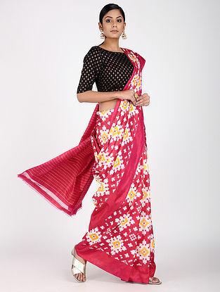 Pink-Ivory Ikat Silk Saree