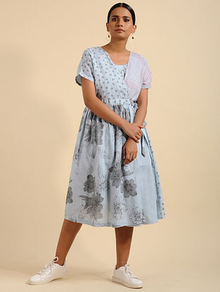 Gloomy Grey Printed Linen Tunic