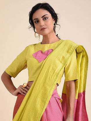 Yellow Pink Applique Cotton Silk Blouse