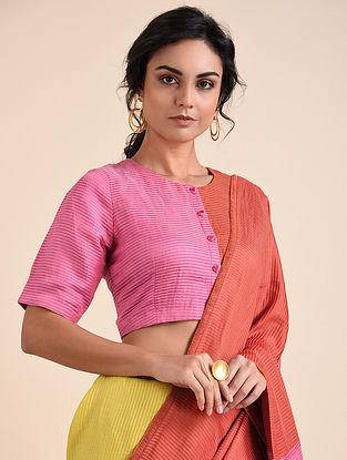Pink Orange Applique Bemberg Linen Blouse