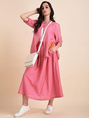 Pink Applique Cotton Silk Top