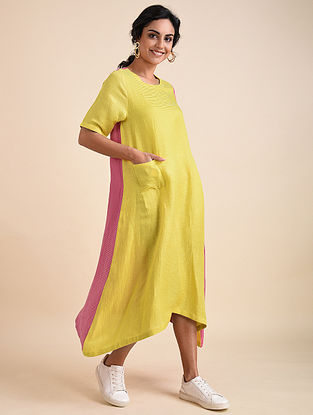 Green Pink Applique Bemberg Linen Tunic