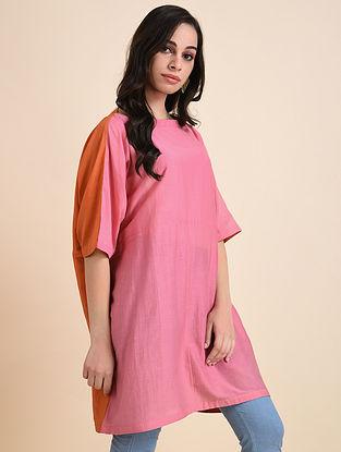 Pink Orange Applique Cotton Silk Tunic