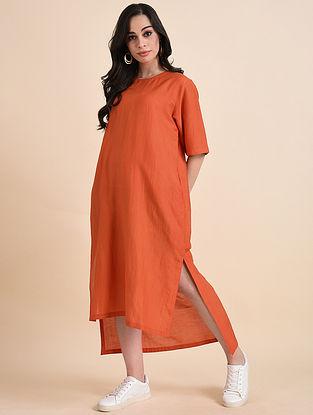 Orange Applique Cotton Silk Tunic
