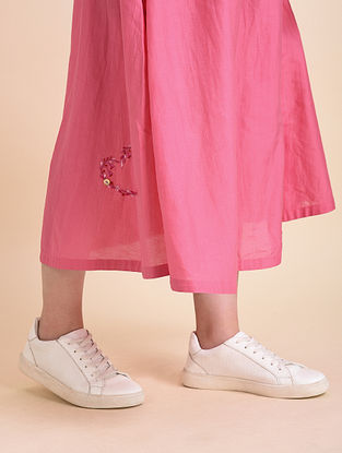 Pink Applique Cotton Silk Skirt