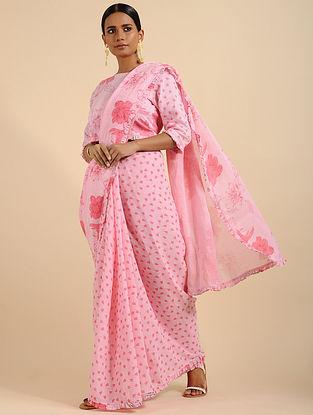 Perky Pink Printed Linen Saree