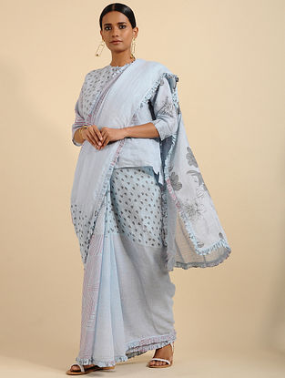 Gloomy Grey Printed Linen Saree