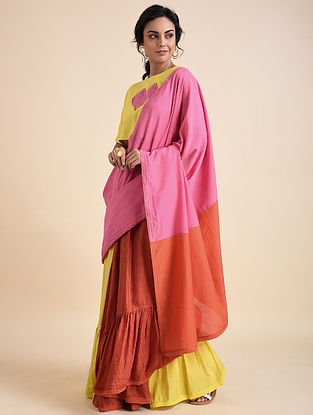 Pink Orange Applique Cotton Silk Bemberg Linen Saree
