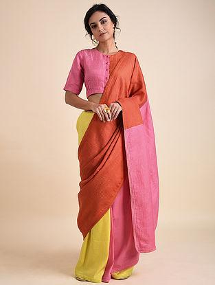 Multicolored Applique Cotton Silk Bemberg Linen Saree