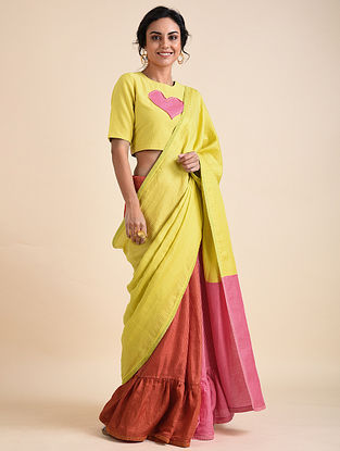 Multicolored Applique Bemberg Linen Saree
