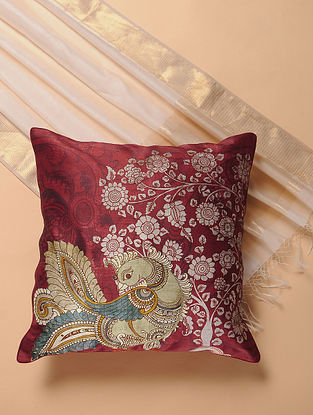 Maroon Printed and Embroidered Kalamkari Cushion Cover