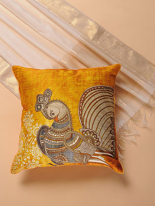 Yellow Printed and Embroidered Kalamkari Cushion Cover