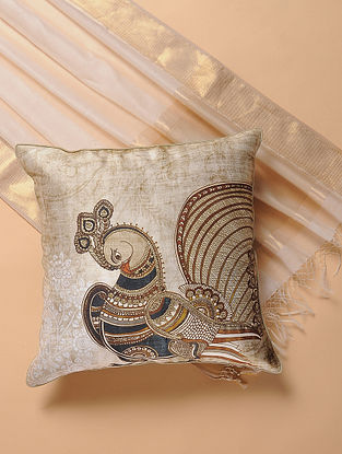 Ivory-Blue Printed and Embroidered Kalamkari Cushion Cover