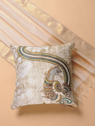 Ivory Printed and Embroidered Kalamkari Cushion Cover