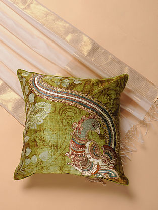Green Printed and Embroidered Kalamkari Cushion Cover