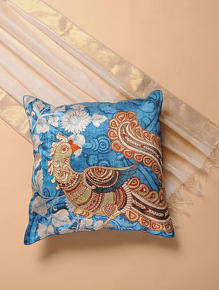 Blue Printed and Embroidered Kalamkari Cushion Cover