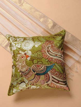 Green-Blue Printed and Embroidered Kalamkari Cushion Cover