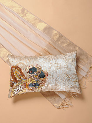 Beige Printed and Embroidered Kalamkari Cushion Cover (12in x 20in)